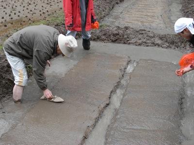 種を蒔いたら、その上にコテを当ててうっすら土をかぶせます。カラスに見つからないように。たね吉くんの風雨対策でもあります