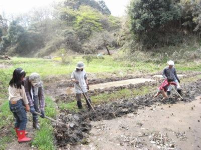 田起こしでは、昨年収穫した稲の根っこが残らないように土を掘り起こします。土を空気にふれさせることで土壌の微生物や菌を文字通り「起こし」、光と空気の栄養を与えます