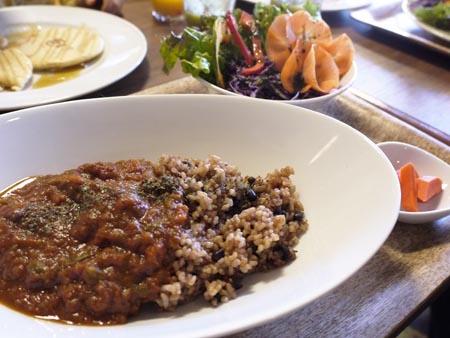 こちらは土日限定メニューの発芽酵素玄米トマトカレーは、サラダとピクルス、飲み物付き(¥1200)。トマト味ベースで後味がピリリと効いてくる。土日限定メニューは他にも金子製麺のパスタを使ったものも人気