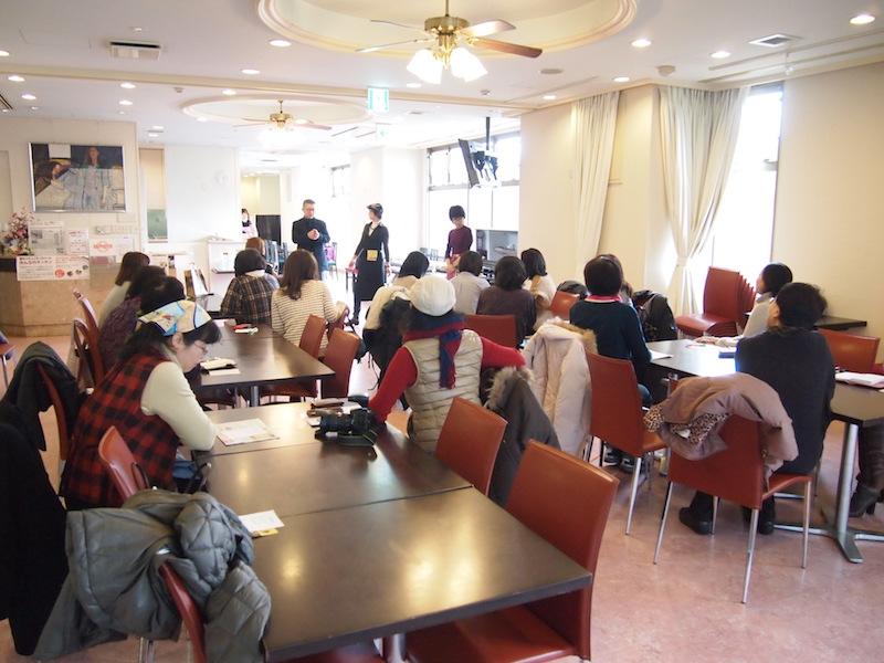 2月8日に開催されたイベント「コラボセミナー&ランチ 卵の秘密の扉をひらく」。立席で60名くらいの利用ができるので、食の講座やランチ会など大人数でのイベントにも適している