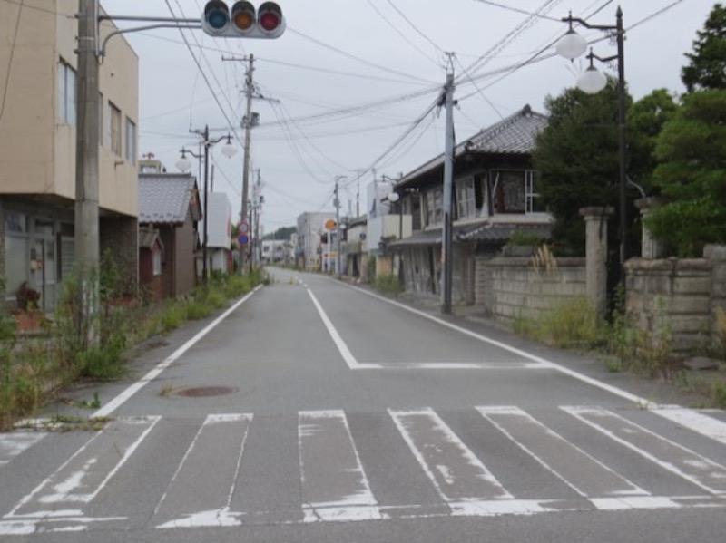 双葉町で。灯りが消えたままの信号と、伸び放題の草(写真提供:井上仁さん)