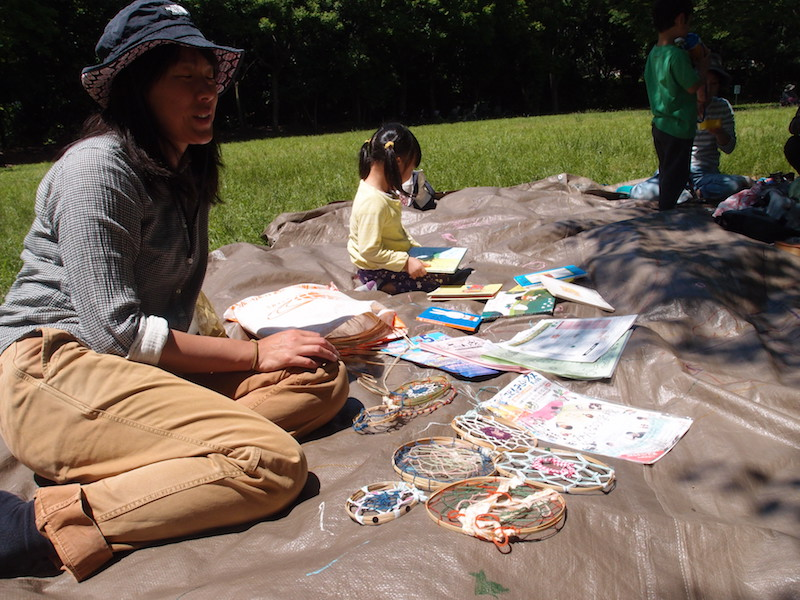 鴨池公園の竹を使ったドリームキャッチャー。このドリームキャッチャーは6月11日、12日に開催される「こどもみらいフェス」で飾られる