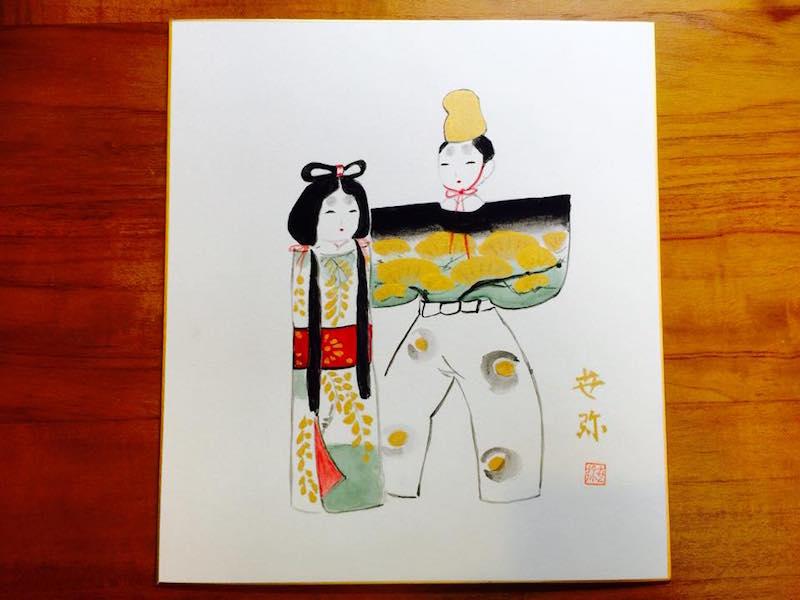 愛子さんのお母様がおひな様を描いた色紙。柔らかな色彩で、優しく微笑む京雛が描かれています