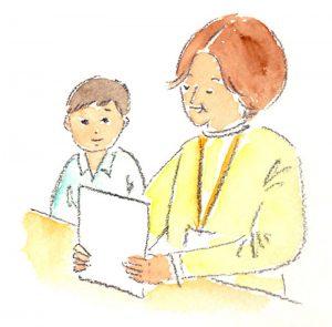 「やり直し」とは、校長先生の前で反省して、それを言葉にして伝えること。「センセイ、やり直しに来ました」と、校長室には子どもたちや、時には大人もやってくる。失敗しない人間なんていない。間違ったら何度でもやり直せばいいんだと、木村先生は教えてくれる(イラスト:ながたに睦子)