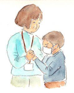 時には友達に暴力をふるったり、頑なに心を開かない子どももいる。それでも先生たちは、決して頭から怒ることはなく、ゆっくりと子どもの心に寄り添い、解きほぐしていく。自分の子育てにも、見習いたいと思うシーンがたくさんあった(イラスト:ながたに睦子)