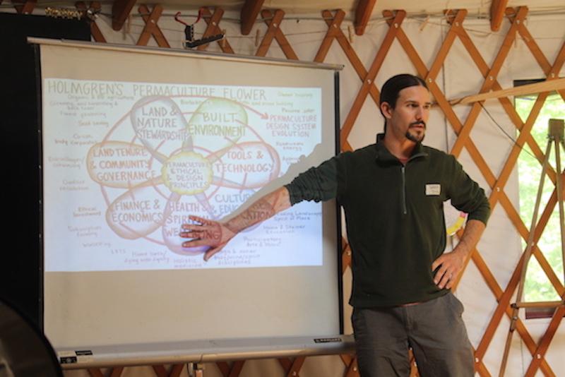 Jeans Farmでパーマカルチャー(循環型で有機的な農業やライフスタイル)を実践し、教えているマット・ビボウ氏による講義。ゲルの中でおこなわれた