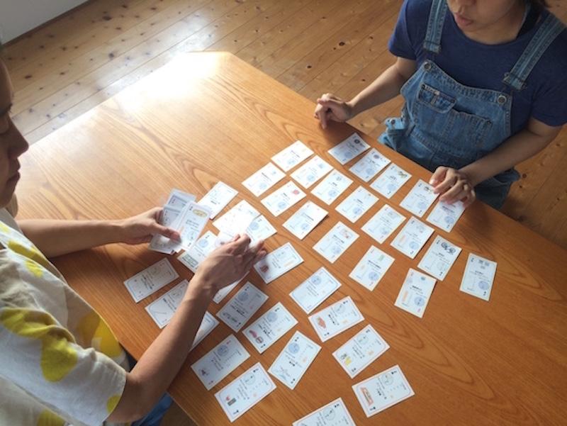 「温暖カード」はゲーム感覚で製品のLCAについて学ぶことができる。製品の製造、使用、廃棄時のCO2がグラフで示されている